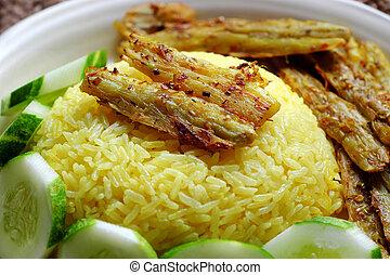 cena, vegetariano, arroz, cocina, frito, citronela, vegetariano, vietnamita, arrowroot, comida, plato