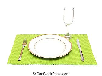 cena, vetro, coltello, forchetta, vino, piastra