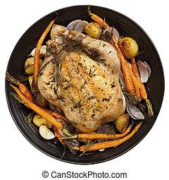 cena, vista, pollo, asado, cima