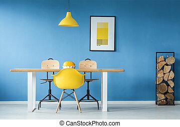 cenando, accenti, stanza, giallo