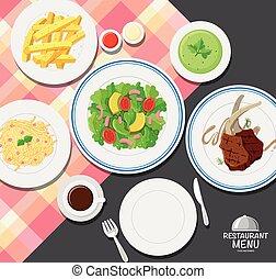 cenando, cibo, differente, tavola, tipi
