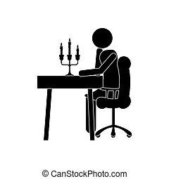 cenando, immagine, icona