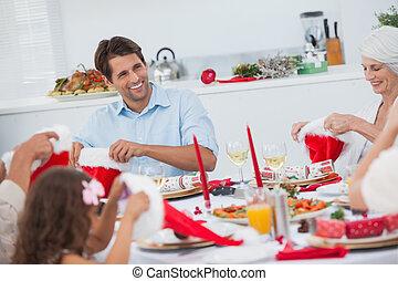 cenando, insieme, famiglia, allegro
