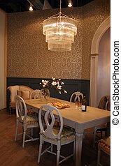 cenando, interiors, -, stanza, casa
