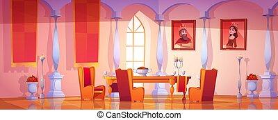 cenando, interno, stanza, castello, reale, medievale