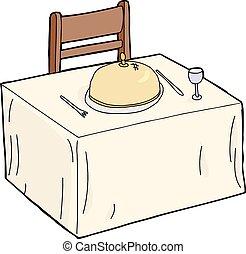 cenando, isolato, capriccio, tavola