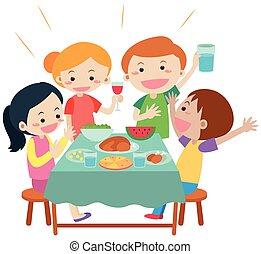 cenando, pasto, tavola, detenere, persone
