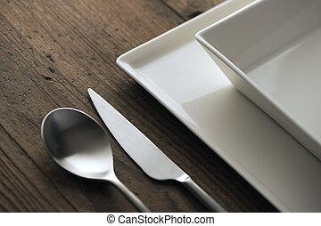 cenando, primo piano, tavola., argenteria