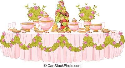 cenando, principessa, palazzo, tavola