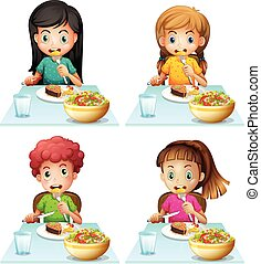 cenando, ragazzo, mangiare, tavola, ragazze