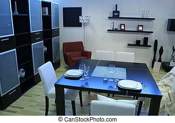 cenando, stanza moderna, tavola