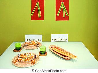 cenando, verde