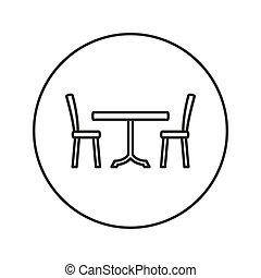 cenar, chairs., tabla