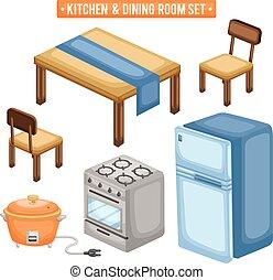 cenar, cocina, habitación, artículos