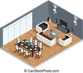 cenar, concepto, habitación