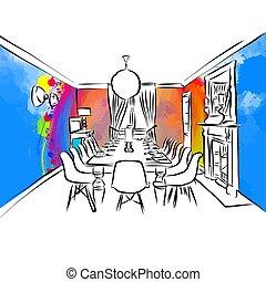 cenar, concepto, habitación, colorido, dibujo