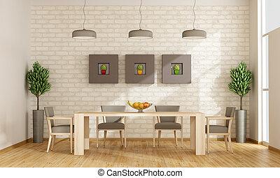 cenar, contemporáneo, habitación