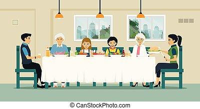 cenar, familia , tabla
