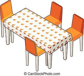 cenar, florecido, chairs., mantel, tabla