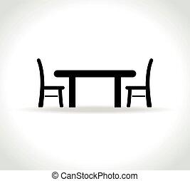 cenar, fondo blanco, tabla