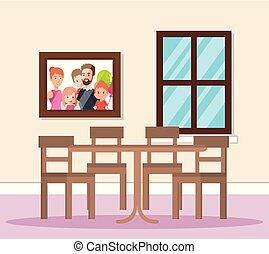 cenar, hogar, escena, habitación