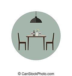 cenar, icon., habitación