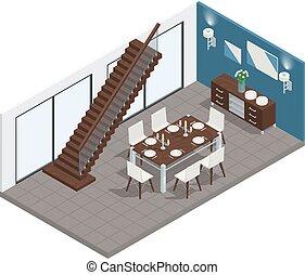 cenar, isométrico, concepto, habitación