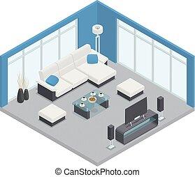 cenar, isométrico, habitación, composición