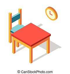cenar, isométrico, ilustración, tabla