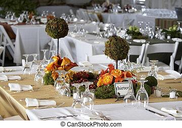 cenar mesa, conjunto, para, un, boda, o, corporativo,...
