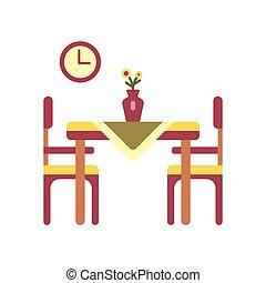 cenar mesa, plano, icono