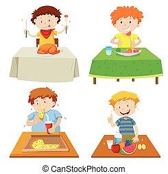 cenar, niños, comida, tabla