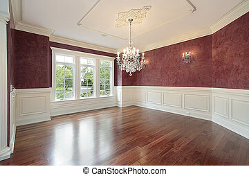 cenar, paredes, habitación, rojo