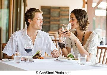 cenar, pareja, joven