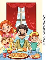 cenar, pizza, teniendo, familia , tabla