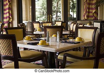 cenar, restaurante, ajuste, mesas