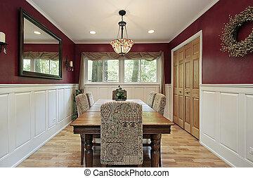 cenar, rojo, habitación, paredes