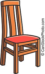 cenar, silla, vector, habitación, caricatura