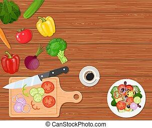cenar, vegetales, tabla