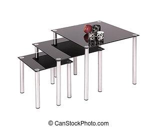 cenar, vidrio, cima, negro, mesas
