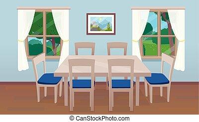 cenar, windows, tabla, interior, habitación