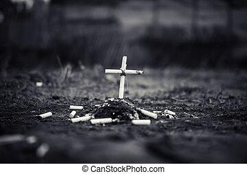 cendrier, à, cendre, et, cigarette, regard, aimer, tombe, et, croix