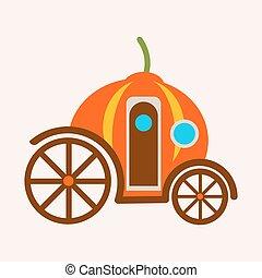 cendrillon, isolé, illustration, conte, voiture, vecteur, fée, citrouille