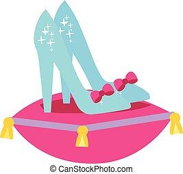 cendrillon, oreiller, chaussures, rose, princesse