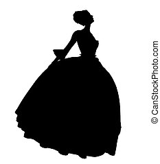 cendrillon, silhouette, illustration