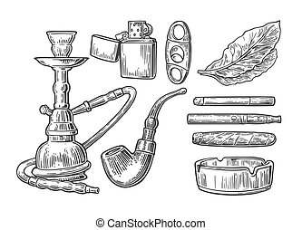 cenicero, cigarro, tubo, aislado, narguile, grabado, ...