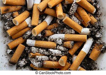 cenicero, lleno, de, cigarettes., sucio, tabaco, textura