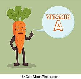 cenoura, callout, personagem, vitamina