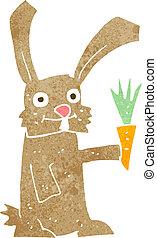 cenoura, caricatura, coelho