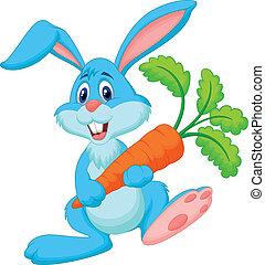 cenoura, coelho, caricatura, segurando, feliz